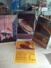 4x Large Cruising/Cunard/Travel Posters 1910+ Mauretania/Lucitania+ Job Lot