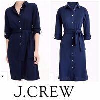 JCREW Dress Size XL Shirtdress Tie-waist Knit Navy J3216 NEW