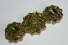 NEW Oscar de la Renta Belt Buckle Brooch Jeweled Gold Green Lime CRYSTALS