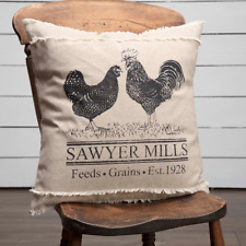 Sawyer Mill Poultry Pillow 18x18 Black Stencil Rooster Chicken on Khaki Chambray