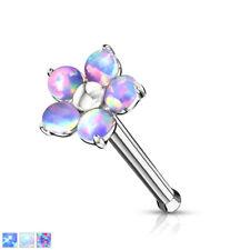 1pc Five Opal Petals Flower 20g Nose Ring Stud Bone 316L Surgical Steel