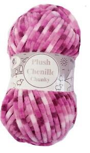 100g Plush Chenille Chunky Yarn by Woolcraft All Shades