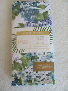"""House & Garden Indoor/Outdoor Set of 4 Napkins 18"""" x 18""""- Hydrangea Bouquet-New"""