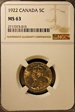 1922 Canada 5 Cents NGC MS 63 Full Strike    ** Free U.S. Shipping **