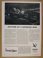 1963 Piper Aztec B Airplane man flying cockpit illustration art vintage print Ad