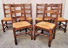 Vtg Set of 6 Oak French Ladderback Rush Bottom Seat Dining Chairs 1900s Restored