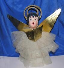 "Vtg Mid Century Xmas 11"" Angel, Celluloid, Net, Foil, Glitter Ovr Styrofoam"