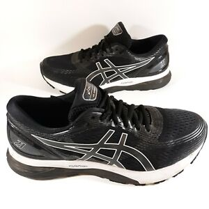 Asics Mens 10.5 US Gel Nimbus 21 1011A169 Black Running Shoes Lace Up Low Top