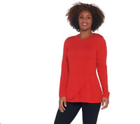Isaac Mizrahi Live! Long Sleeve Peplum Flounce Sweater Hot Chili Red Size XLarge