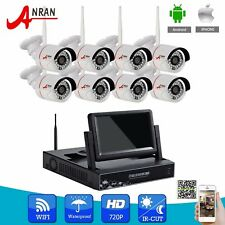 """ANRAN 8CH 720P HD Wireless Video NVR WIFI Security Camera System 7""""LCD Monitor"""