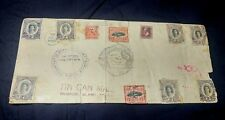 1930's Tonga Niuafoou Island Tin Can Canoe Mail large Cover w/ 11 Stamps 11x5""