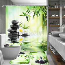 Us Bamboo Stone Polyester Shower Curtain Anti-slip Rug Lid Toilet Cover Bath Mat