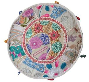 Indian Mandala Pouf Ottoman Pouffe Poof Round Pouf Foot Stool Pouf Decorative