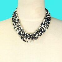 "16"" Multi Strand Black White Handmade Bali Boho Seed Bead Statement Necklace"