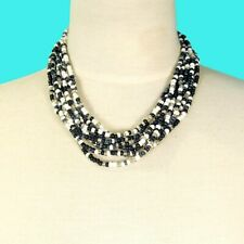 "16"" Multi Strand Black White Handmade Bali Boho Seed Bead Statement Necklace"