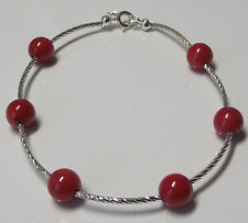 RED CORAL BRACELET 8mm Beads 925 STERLING SILVER 7 inch : Ladies