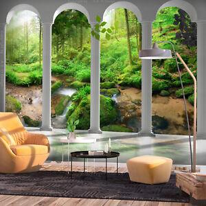 VLIES FOTOTAPETE Wald grün Landschaft Terrasse Wohnzimmer TAPETE WANDBILDER XXL