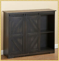 Farmhouse Black Barn Door Buffet Cabinet Sideboard Cupboard Storage Kitchen Bar