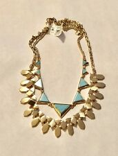 NWT Vera Bradley Gold Tone Turquoise Triangle Double Necklace! Wow! Very Pretty!