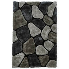 Think Rugs Noble House Nh5858 Shaggy Hand Tufted Rug Grey / Cobalt 150x230cm (5x8')