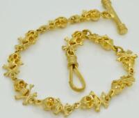 Victorian 18K GOLD PLATED MEMENTO MORI SKULLS&BONES chain fob for pocket watches