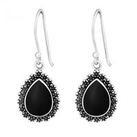 925 Sterling Silver Black Teardrop Drop/Dangle Earrings