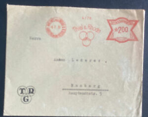 1931 Mablonec Czechoslovakia Meter Cancel Cover To Bamberg Germany