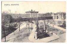 AK, Augsburg, Hauptbahnhof mit Vorplatz, um 1914
