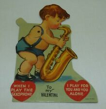 Vintage Old Mechanical Valentine's Day Card Boy Playing Saxophone Die Cut USA