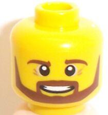 Lego Yellow Head x 1 Beard Brown Angular, Pupils, Teeth Smile for Minifigure