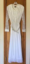 WESTERN COLLECTION White DRESS Cowgirl Wedding, Lace, Fringe, Medium Vintage USA