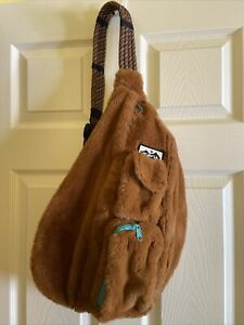 KAVU Rope Fuzz Bag Sling Crossbody Backpack Travel Purse Caramel