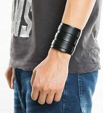 Leather Wide Triple Strap Cuff Wrap Gauntlet Wristband Buckle Arm Genuine Men