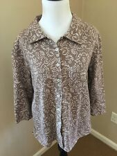 Fresh Produce Taupe And Ivory 100% Cotton Button Down Top Size Small *Excellent*