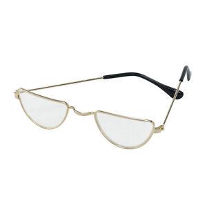 Gold Old Man Half Moon Glasses - Lady Granny Santa Claus Fancy Dress Accessory