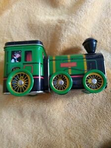 Green tin Express train container turning wheels 2 compartments for sweets etc