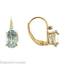2.12 CARAT AQUAMARINE STUD EARRINGS OVAL SHAPE 14K YELLOW GOLD MARCH BIRTH STONE