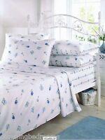 SINGLE SIZE VINTAGE BLUE ROSEBUD WINTERWARM FITTED FLAT  FLANNELETTE SHEET SET