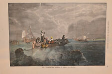 Stampa antica PAESAGGIO MARINO a DIEPPE Barche da pesca Normandia 1869 Old print