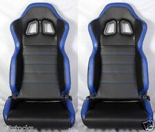 NEW 2 BLACK & BLUE PVC LEATHER RACING SEATS + SLIDER RECLINABLE PONTIAC NEW *