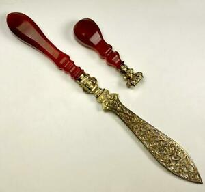 Antique French Wax Seal, Paper Knife or Letter Opener, Vermeil Blade, Agate Hndl