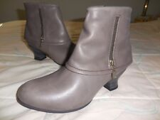 !New! $200+WOLKY Gray LEATHER ANKLE Fashion BOOT US 6.75-7.5M Kitten Heel 2 inch