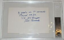 Bill Mosienko Signed 3X5 Index Card Beckett Authenticated Rare Inscriptions