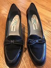 ROS HOMMERSON Leather Loafers Bow Tie High Heels Womens Shoes Pumps Size 7 #
