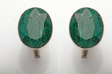 Estate 30ct Genuine Emerald Sterling Silver Mens Cufflinks  RARE