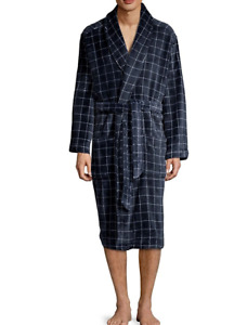 Tommy Hilfiger Men Relaxed Fit Lounge Plush Fleece Robe Blue L/XL