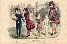 """121/ GRAVURE DE MODE """"  JOURNAL des DEMOISELLES """" 1883 SUPERBES COULEURS !"""