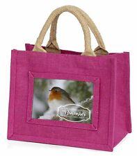 Little Robin Red Breast Little Girls Small Pink Shopping Bag Christm, Robin-1BMP