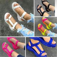 Womens Summer Open Toe Sandals Wedge Heels Ankle Strap Casual Roman Slingback Sz