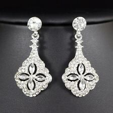 Ice Flower Clear Austrian Crystal Rhinestone Dangle Earrings Bridle Prom E30